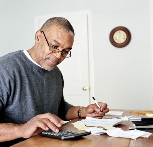 Man doing his finances