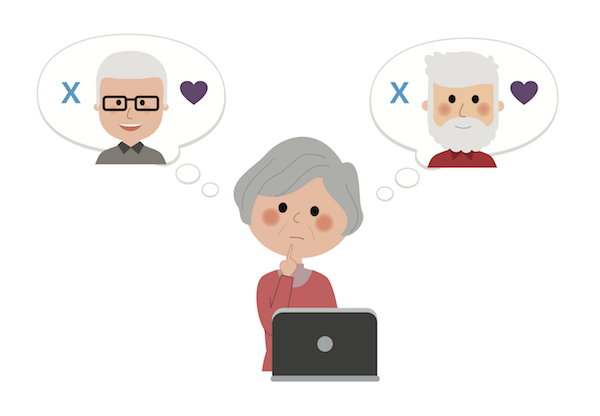 Seniors use dating apps graphic
