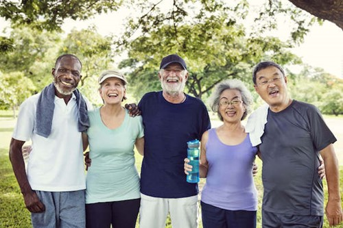 Older adults smiling after group exercise