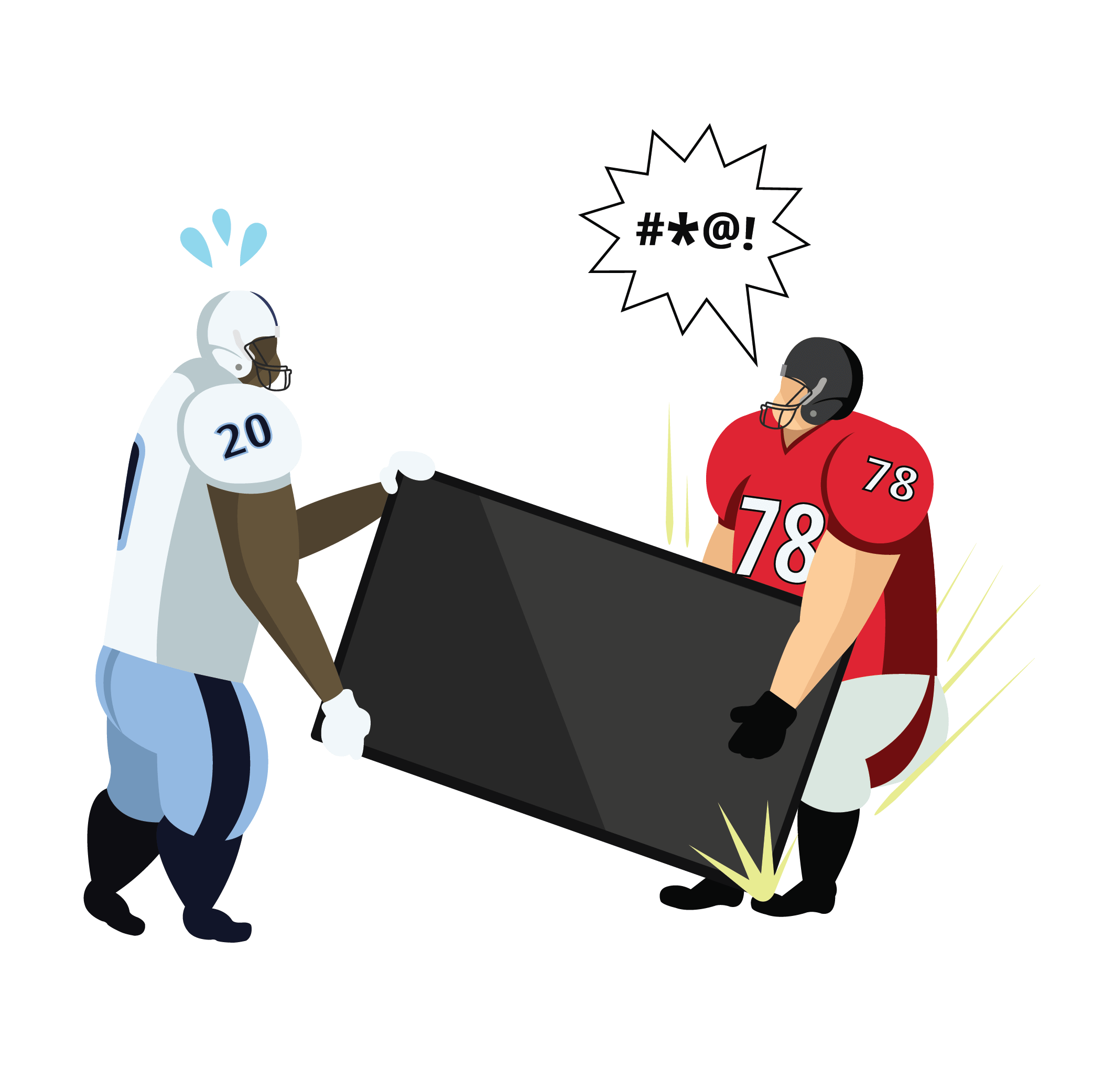 Two animated football players drop a TV on a toe