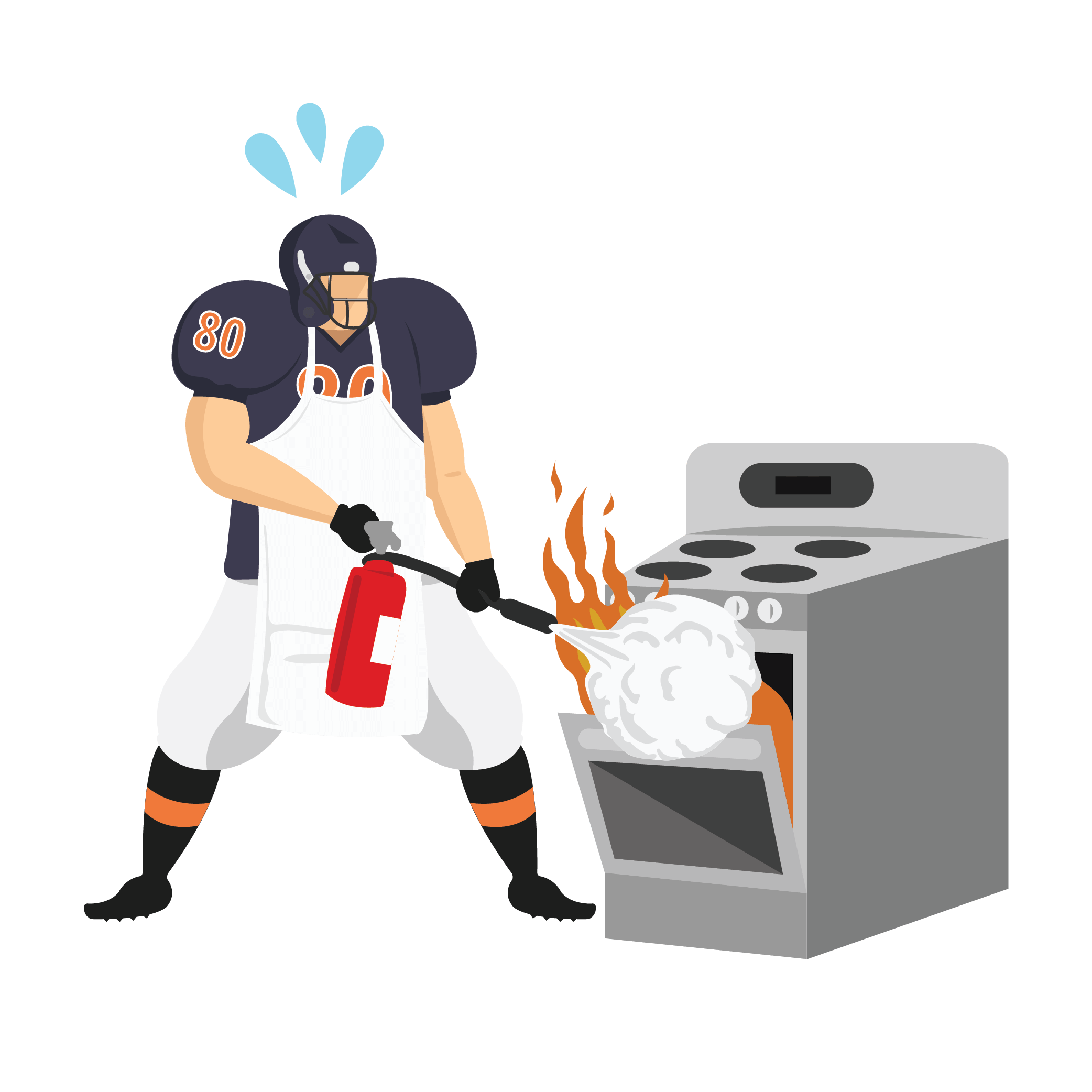 Animated football player using fire extinguisher to put out oven fire